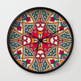Red Turquoise Pattern Wall Clock