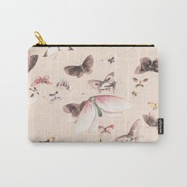 Vintage blush pink black watercolor cute butterfly Carry-All Pouch