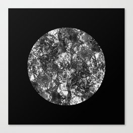 Silver Moon - Abstract, textured silver foil lunar design Canvas Print