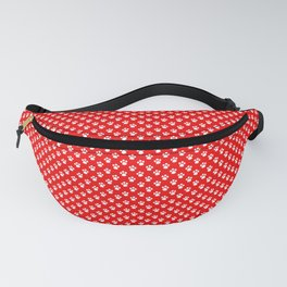 Tiny Paw Prints Pattern - Bright Red & White Fanny Pack