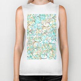 grid in yellow and blue and petals Biker Tank