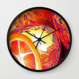 Orange kumquat citrus pop art watercolor fruit Wall Clock