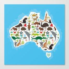 map of Australia. Echidna Platypus ostrich Emu Tasmanian devil Cockatoo parrot Wombat snake turtle Canvas Print