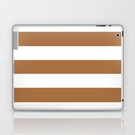 Metallic bronze - solid color - white stripes pattern Laptop & iPad Skin