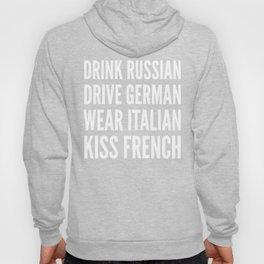 Russian German Italian French (Black & White) Hoody