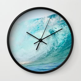 Pacific big surfing wave breaking Wall Clock