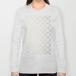 Simply Mod Diamond White Gold Sands on White Long Sleeve T-shirt