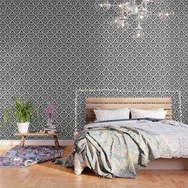 Scroll Damask Big Pattern Black on White Wallpaper