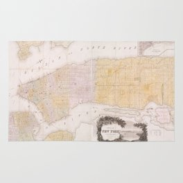 Vintage Map of New York City (1845) Rug