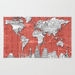 world map city skyline 9 Rug