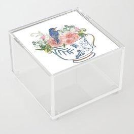 Blue Bird on Vintage Tea Cup Acrylic Box