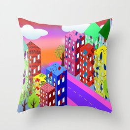 Abstract Urban By Day Throw Pillow