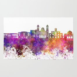 Limassol skyline in watercolor background Rug