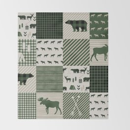 Camping hunter green plaid quilt cheater quilt baby nursery cute pattern bear moose cabin life Throw Blanket