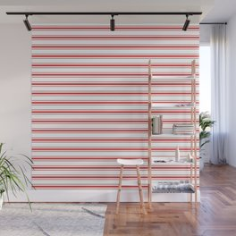 Mattress Ticking Wide Striped Pattern in Red and White Wall Mural