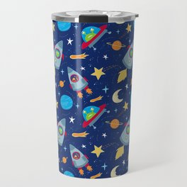 Fun Space Rockets and Aliens Travel Mug