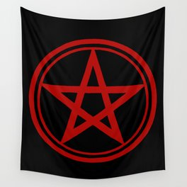 Red Pentacle Witch Goth Wall Tapestry