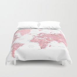 World map duvet covers society6 light pink muted pink and dusty pink watercolor world map with cities duvet cover gumiabroncs Images