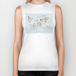 Cartoon animal world map for children and kids, Animals from all over the world Biker Tank