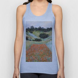 Poppy Field in a Hollow near Giverny by Claude Monet Unisex Tank Top