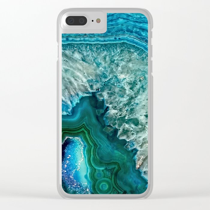 Aqua turquoise agate mineral gem stone - Beautiful Backdrop Clear iPhone Case