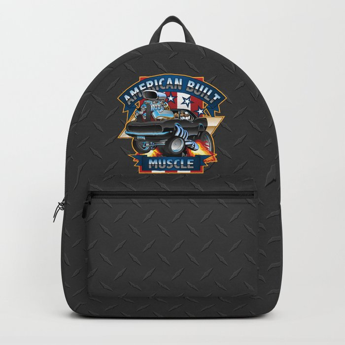 American Built Muscle - Classic Muscle Car Cartoon Illustration Backpack