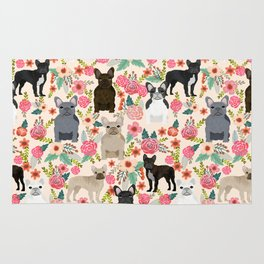 Frenchie floral french bulldog cute pet gifts dog breed must haves florals french bulldogs Rug