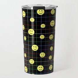 Colorful Smiley Emoji 4 - black Travel Mug