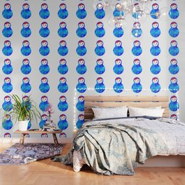 wink Russian doll matryoshka with bright rhombus on white background, blue colors Wallpaper