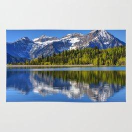 Mt. Timpanogos Reflected In Silver Flat Reservoir - Utah Rug