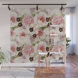 Small Vintage Peony and Ipomea Pattern - Smelling Dreams Wall Mural