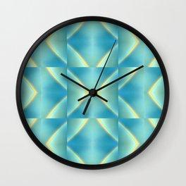 Green Blue Metallic Geometric Pattern Wall Clock