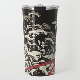 Kuro-tomesode with a Pair of Pheasants in Hiding (Japan, untouched kimono detail) Travel Mug