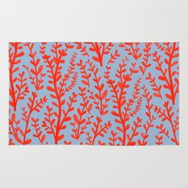 Pale Blue and Red Leaves Hand-Painted Pattern Rug