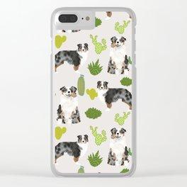 Australian Shepherd owners dog breed cute herding dogs aussie dogs animal pet portrait cactus Clear iPhone Case