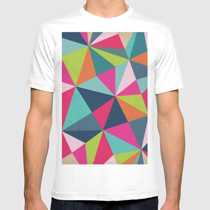geometric triangle pattern spring color palette t shirt by