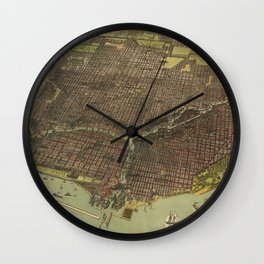 Vintage Pictorial Map of Chicago IL (1893) Wall Clock