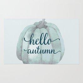 hello autumn blue pumpkin Rug