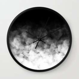 Ombre Black White Clouds Minimal Wall Clock