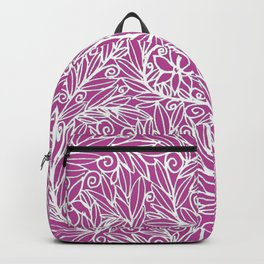 Heart of Leaves white on pink Backpack