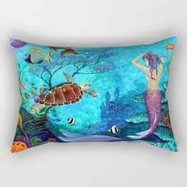 A Fish of a Different Color - Mermaid and seaturtle Rectangular Pillow