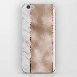 Rose metallic striping - marble and blush iPhone Skin