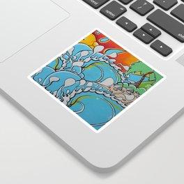 Wavy reef break Sticker