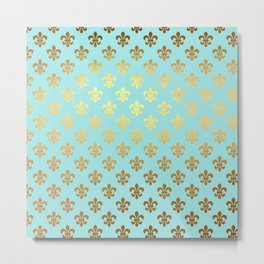 Royal gold ornaments on aqua turquoise background Metal Print