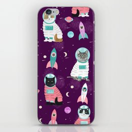 Space Cats pet portraits cute cat gifts cat lady outer space cadet rockets iPhone Skin