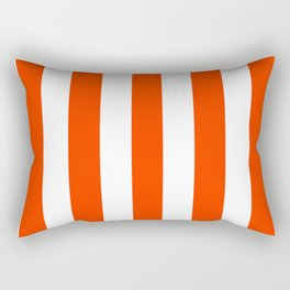 Coquelicot orange - solid color - white vertical lines pattern Rectangular Pillow