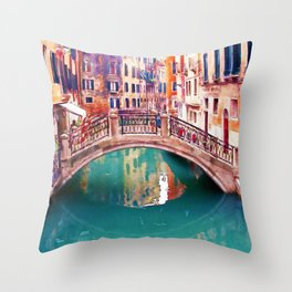 Small Bridge in Venice Throw Pillow