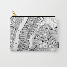 New York City Neutral Map Art Print Carry-All Pouch