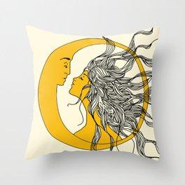 Sun and Moon Throw Pillow