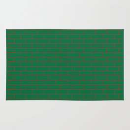 Green Wall Red Line Rug